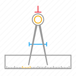 compass, draw, drawing, geometry, instrument, scale icon