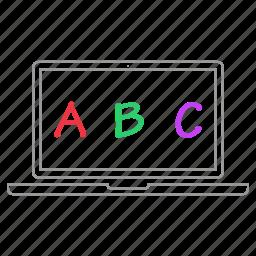 abc, alphabet, education, elearning, laptop, learning icon
