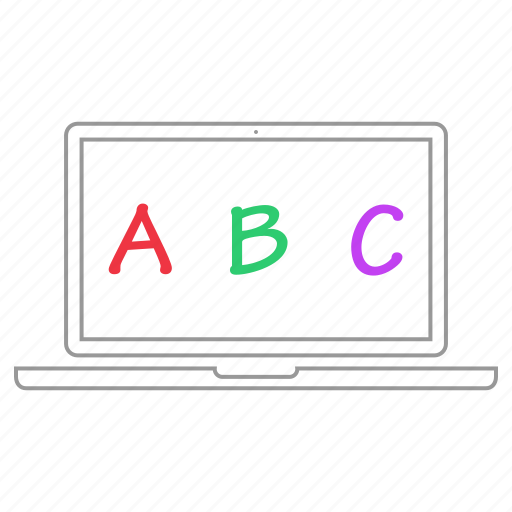 abc, alphabet, education, elearning, laptop, learning icon