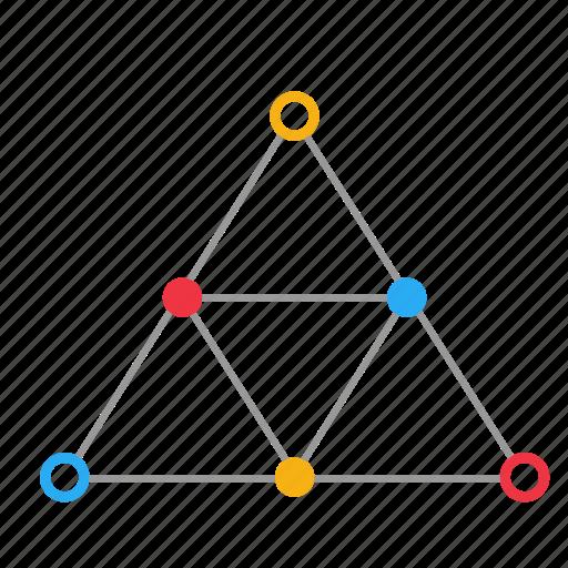 atom, chemistry, formula, molecule, science, triangle icon