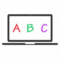 abc, alphabet, computer education, education, elearning, learning, study icon