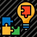 creative, jigsaw, lightbulb icon