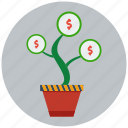 finance, gain, increment, investment, money, money plant, profit icon