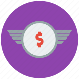 currency, increment, investment, money, profit, wing icon