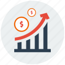 finance, growth, income, increment, investment, money, profit icon
