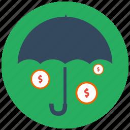 currency, finance, finnance, money, money rain, protect money, umbrella icon