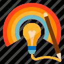 creative, creativity, lightbulb, pencil, rainbow