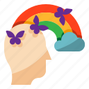butterfly, cloud, creative, imagination, rainbow icon