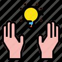 blub, creative, hand icon