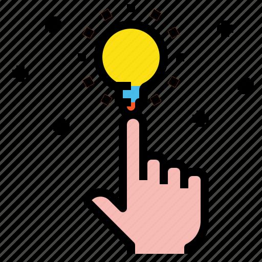 blub, creative, hand, idea icon