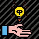 blub, business, creative, hand, idea icon