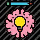blub, brain, creative, head, pen icon