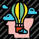 balloon, creative, head, idea icon