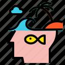 blub, fish, head, idea, island icon