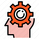 creative, gear, head, idea icon