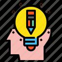 blub, creative, head, idea, pen, pencil icon