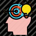 blub, creative, head, idea, target icon