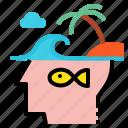 creative, idea, island, travel icon