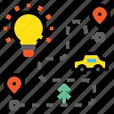 blub, idea, plan, road icon