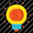 bulb, coin, idea, money icon