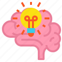 brain, bulb, creative, idea icon