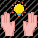 creative, hand, bulb
