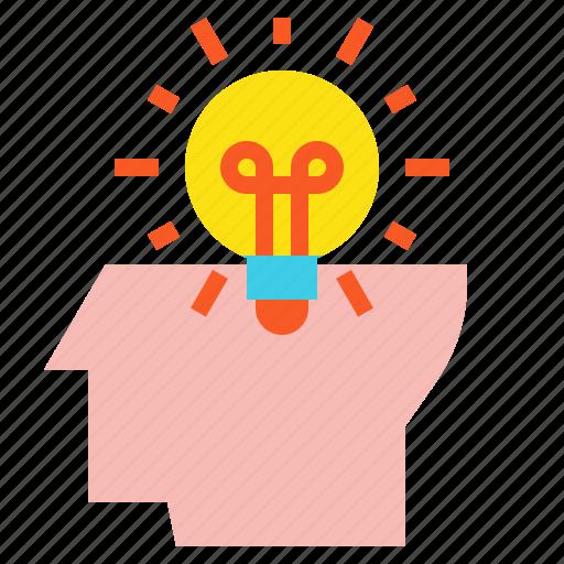 bulb, creative, head, idea icon
