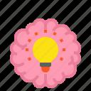 brain, creative, head, pen, bulb