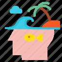 fish, head, idea, island, bulb