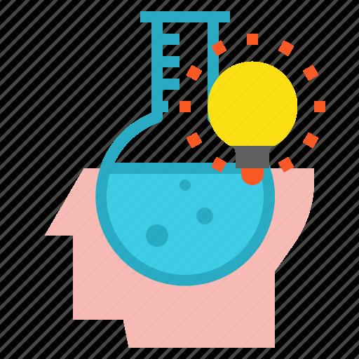 bulb, creative, head, idea, science icon