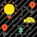 bulb, idea, plan, road icon