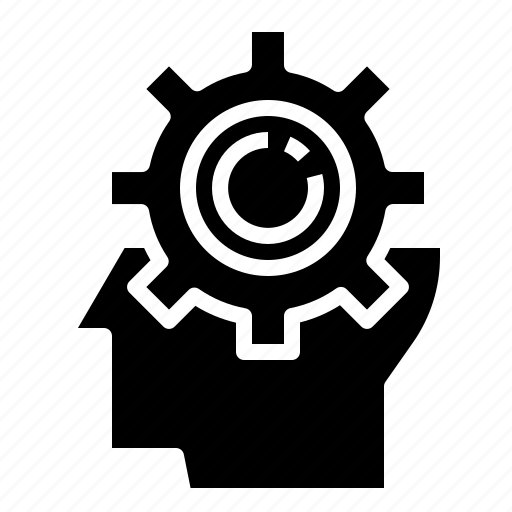 creative, gear, head, idea icon