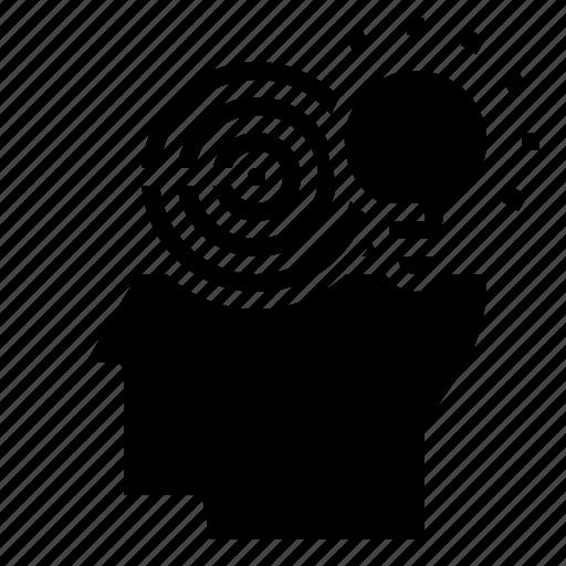 creative, head, idea, target icon