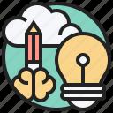 bulb, creating, design, idea, pencil