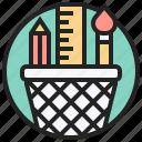 basket, device, ruler, stationery, tools