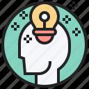 brilliance, bulb, head, intelligence, thinking