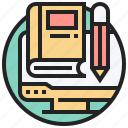 book, computer, knowledge, learning, online icon