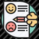 face, feedback, happy, pencil, questionnaire