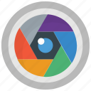 aperture, camera focus, camera lens, camera shutter, photography icon