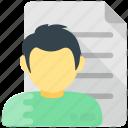 personal informations, job profile, cv, curriculum vitae, resume icon