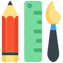 drawing tools, paint brush, pencil, scale, stationery icon