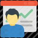 business analytics, business presentation, data analyst, statistics, whiteboard graph icon