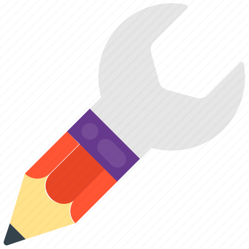 Architect instruments, creative writing, creativity, design tools, wrench with pencil icon - Download on Iconfinder