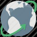 digital world, around the world, international business, global communication, globe arrow icon