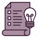bulb, creative, document, idea, list, plan, process icon