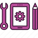 app, development, interface, mobile, process, smartphone, tools icon