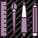 brush, design, equipment, instrument, pencil, ruler, tools icon