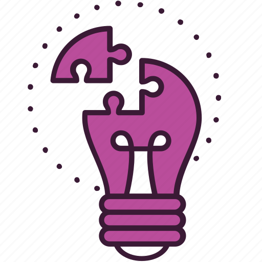 bulb, creativity, idea, problem, puzzle, solution, solving icon