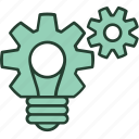 bulb, gear, ideas, process, solution, that, work icon