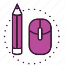 creative, design, digital, graphic, mouse, pencil, tools icon